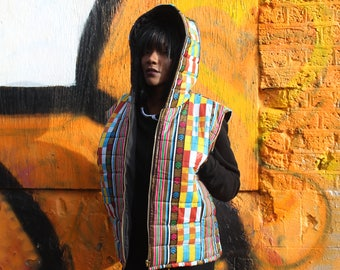 African Clothing - African Print Jacket - African Vest - African Gilet - Padded Jacket - Festival Clothing - Festival Jacket -Wax Print Vest