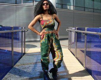 African Jumpsuit Dashiki Jumpsuit African Romper African Playsuit Ankara Clothing African Clothing Festival Jumpsuit African All in One