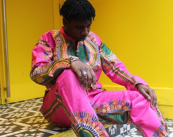 African Dashiki Suit African Shirt Mens African Fashion African Two Piece African Top Wax Print Trousers Dashiki Clothing Festival Shirt