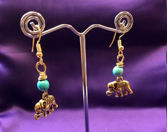 Elephant Earrings - Crystal Earrings - Turquoise Earrings - African Jewellery - Amethyst Earrings - Rose Quartz Earrings - African Earrings