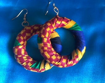 Christmas Present African Print Hooped Earrings With Blue Ankara Fabric sustainable jewellery Zero Waste Jewellery Recycled Earrings