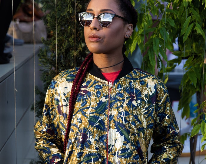 Featured listing image: African Bomber Jacket - Jaineba Jacket - Gold jacket - Shiny Jacket - Glitter - Festival Jacket - Wax Bomber - Festival Shirt - Wax Jacket
