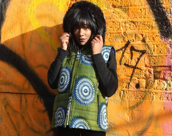 African Print Jacket - African Body Warmer-African Vest - African Clothing - African Gilet - Padded Jacket - Festival Clothing