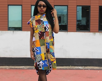 African Print Dress in Patchwork Ankara