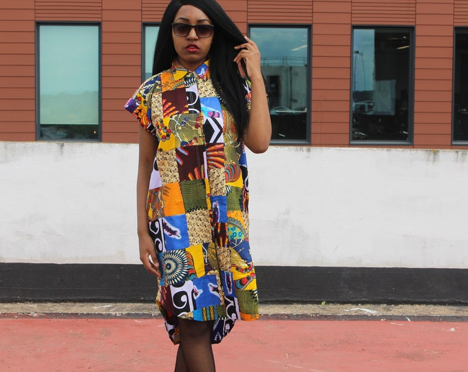 Featured listing image: African Print Dress in Patchwork Ankara