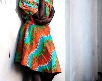 Ankara Wrap Skirt A-Line African Clothing Wax Print Skirt in Wax Festival Skirt African Skirt Summer Skirt African Print Skirt African Top