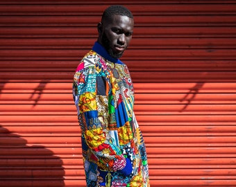 CONTINENT CLOTHING Retro Coat / Patchwork Coat / Aztec Hippy Boho Festival Fresh Prince Colourful Zip Pocket Trench Coat