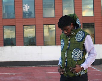 African Body Warmer- African Print Jacket - African Vest - African Clothing - African Gilet - Padded Jacket - Festival Clothing