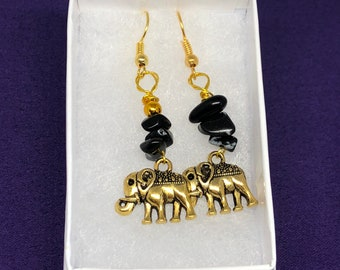 Elephant Earrings Crystal Earrings Obsidian Earrings Silver Earrings Crystal Jewellery Healing Crystal Earrings