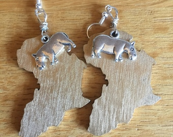 Africa Earrings Hippo Jewellery African Animal Earrings Ethnic Jewellery Animal Earrings Hippo Earrings CONTINENT CLOTHING
