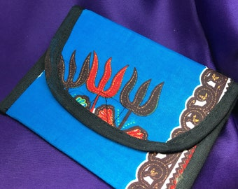 African Print Purse Blue Coin Bag Ankara Purse