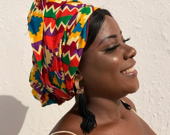 African Print Headwrap Extra Large African Head scarf Wax Print Turban Ankara Head Scarf African Headtie Wax Print Headwrap Kente Scarf