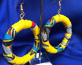 African Print Hoop earrings