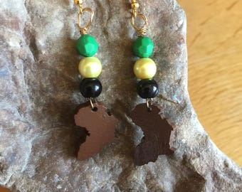 Map Of Africa Earrings Jamaican Jewellery Wooden Earrings African Earrings Zulu Earrings Ethnic Jewellery Jamaican Colours Earrings