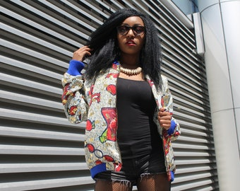 African Clothing 90s Bomber Jacket African Print Jacket Gold Bomber jacket Ankara jacket Festival Clothing Sequinned Jacket Puffer