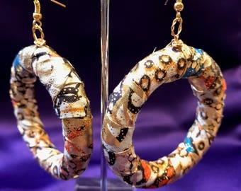 African Print Earrings Tribal Earrings Large Hoop Earrings Fabric Hoops African Hoops Zulu Earrings Ethnic Jewellery African Boho Jewellery