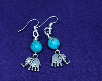 Elephant Earrings Crystal Earrings Turquoise Earrings Silver Earrings Crystal Jewellery Healing Crystal Earrings