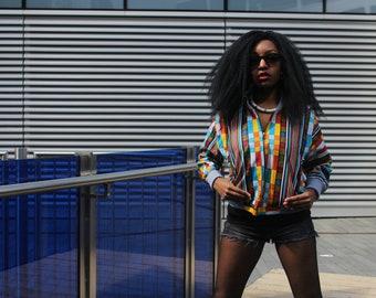 African Bomber Jacket Wax Bomber African Jacket Ankara Jacket Festival clothing Festival Jacket Ethnic Clothing Ethical Clothing