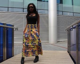 African Skirt African Maxi Skirt African Clothing Gold Skirt Ankara Skirt