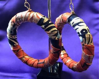 African Earrings African Print Earrings African hoops Ankara Festival Earrings Ethnic Jewellery African Handmade Earrings Wax Print Hoops