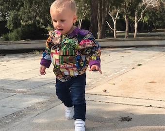 Patchwork Bomber Jacket Children's African Bomber Kids Ankara Children's Clothing African Kids Clothing