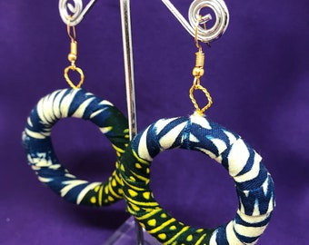 African Print Hooped Earrings With Green Blue Ankara Fabric