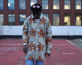 African Longline Shirt Ankara Shirt Festival Clothing African Clothing African Shirt Summer Shirt Festival Shirt Wax Print Shirt Unisex