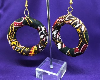 African Print Hooped Earrings With Black Dashiki Fabric