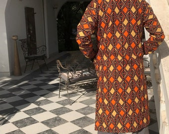 African Coat Kente African Print Trench Coat in Orange Ankara Print Ankara Coat African Coat Festival Coat Kente Clothing