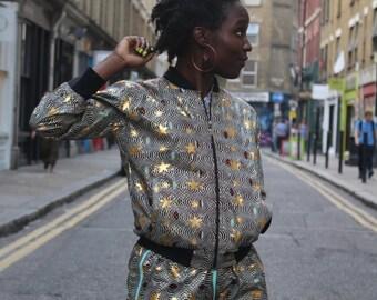 African Bomber Jacket - Jaineba Jacket - Gold Jacket - Glitter Jacket - Shiny Bomber - African Wax Print - Shiny Festival Clothing