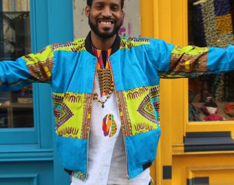 Colourful Winter Jacket African Bomber Jacket Wax Bomber Jacket 90s Bomber Jacket Dashiki Bomber jacket Bohemian Clothing African Jacket