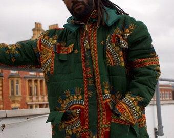 Dashiki Down Coat Retro Puffer Jacket Quilted Jacket Dashiki Puffer Jacket / Colourful Winter Jacket Aztec Crazy Unisex Fresh Prince Jacket
