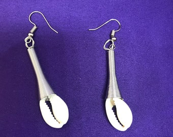 Cowrie Earrings Silver Earrings Cultural Earrings