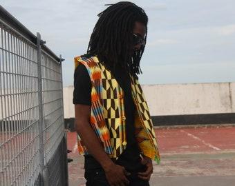 AFRICAN PRINT WAISTCOAT Retro Vest / Aztec Vest / Hippy Boho Festival Fresh Prince Colourful Zip Pocket Bomber Jacket Continent Clothing
