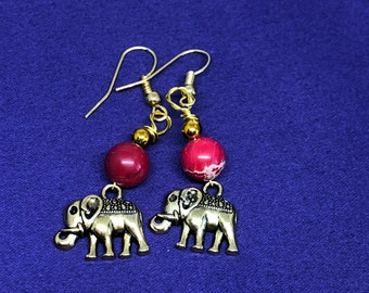 Lucky Elephant Earrings Animal Lover Earrings Elephant Charm earrings African Animals Red Jasper Earrings Elephant Jewelry