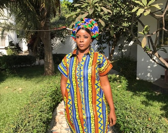 African Shirt Dress African Dress Wax Print Dress Longline Shirt Ankara Dress African Clothing Festival Dress Boho Dress Ethnic Dress