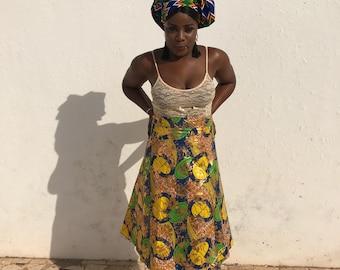 African Wrap Skirt A-line Ankara Wrap Skirt Wax Print Skirt Boho Skirt Festival Skirt African Skirt African Print Skirt Aztec Skirt