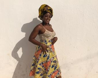 Gold Wrap Skirt Indian Wrap Skirt Wax Print Skirt Festival Skirt Beach Wrap Skirt African Skirt Summer Skirt African Print Skirt