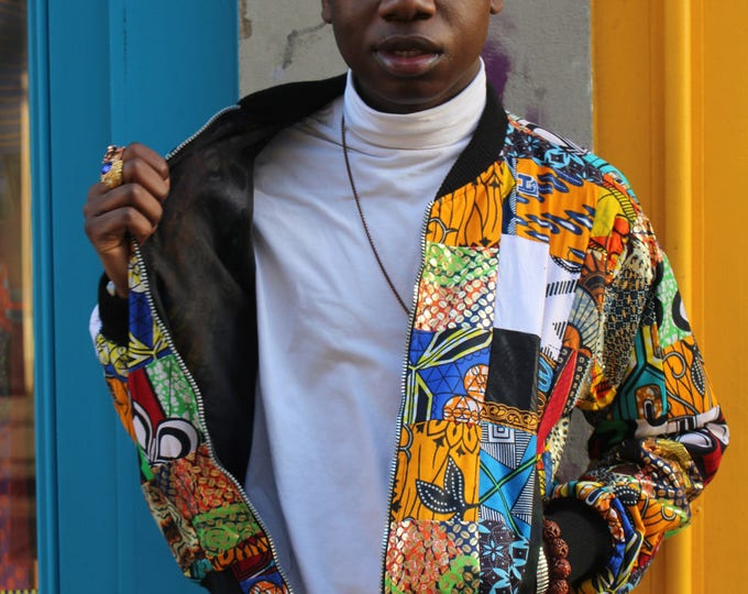 Featured listing image: African Bomber Jacket 90s Bomber Jacket in Wax Patchwork Jacket Boho Jacket African Clothing festival Clothing Festival Jacket Wax Bomber