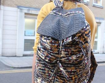 African BackPack - Metallic BackPack - Mens Festival Bag - Tribal Bag - African Bag - African Rucksack - Ruck Sack - Back Pack - Large Bag