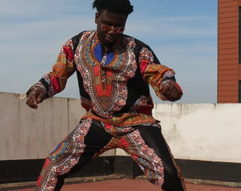 African Suit Dashiki Shirt Dashiki Top African Clothing Dashiki Outfit Festival Clothing African Top Baggy Pants African Two Piece