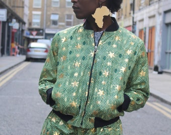 African Bomber Jacket - Jaineba Jacket - Gold Jacket - African Wax Print - Wax Jacket - African Clothing - Festival Clothing