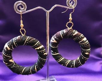 Hoop Earrings Boho Earrings African Fabric Earrings Zero waste Earrings African Hoops African Print Earrings Ethnic Jewellery