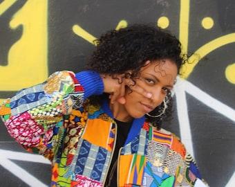 Retro Bomber Jacket / Patchwork Jacket / Zero Waste Aztec Hippy Boho Festival Fresh Prince Jaket Colourful Zip Pockets CONTINENT CLOTHING