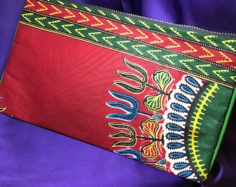 African Print Purse Red Coin Purse Dashiki Purse