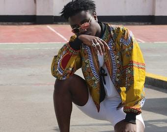 Dashiki Jacket in Wax Bomber Jacket festival Jacket African Print Bomber Jacket Dashiki Bomber jacket African Clothing Festival Clothing