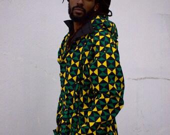 African Trench Coat Winter Coat Winter Jacket longline Jacket African Clothing Wax Bomber African Coat African Bomber Jacket Gold Coat