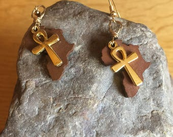 African Earrings - Ankh Jewellery -  Wooden Earrings - Africa Map Earings - Stocking Gifts - Ethnic Jewellery - African Handmade Jewellery