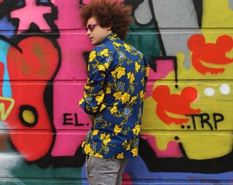 African Shirt Mens Longline - Allagi Shirt - Festival Clothing - African Clothing - Summer Shirt - Festival Shirt - Dashiki - Ankara Top