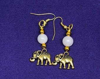 Elephant Earrings Jungle Jewellery Rose Quartz Earrings Silver Earrings Animal Lover Earrings Animal Earrings Lucky Elephant